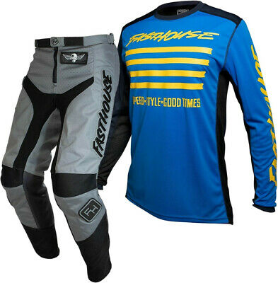 """Fasthouse GRINDHOUSE Motocross Gear GREY SLASH BLUE YELLOW ADULT 32"""""""