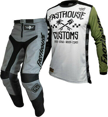 """Fasthouse GRINDHOUSE Motocross Gear GREY HAWK OLIVE ADULT 32"""""""