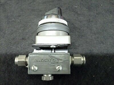 """Mead MV-TP 2 Pos Selector Air Switch 1/8"""" NPT Ports w/ 1/4"""" Tube Fittings"""