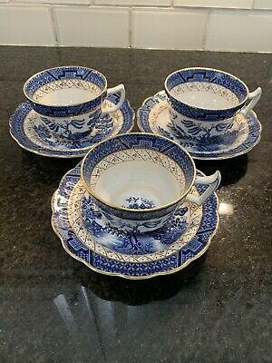 3 Booths Real Old Willow CUP SAUCER 6 Pc Set A8025  England Blue Royal Doulton