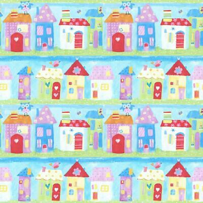 Town Houses Children's Wallpaper Birds Painted Effect Kid Paste Wall Galerie