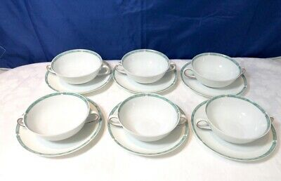 Bernardaud Limoges Gemme Vert Set 6 Soup cup & saucer / tazze brodo NEW IN BOX