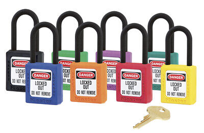 Zenex Lockout Padlock 406. 8 Colours. Non-Conductive Body And Nylon Shackle.