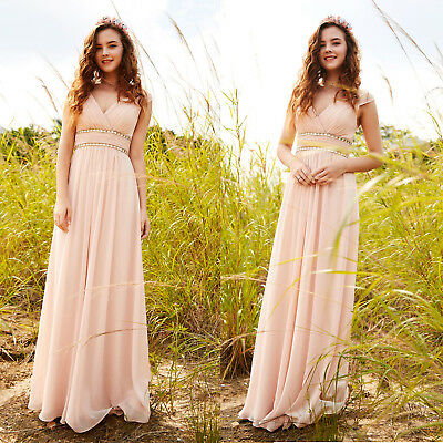 Ever Pretty Uk Long Evening Gowns Formal V Neck Chiffon