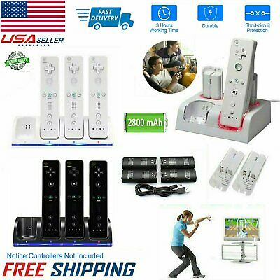 4x Rechargeable Battery Pack & 4-Port Charging Dock For Nintendo Wii Remote Game