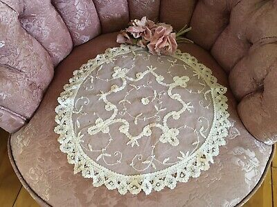 Lovely Antique French Tambour Lace Doily Table Runner Cotton Netting #A99