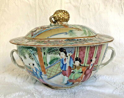 Antique Chinese Export Rose Medallion Covered Bowl w/Handles Orson Welles