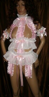 Prissy Sissy Maid Adult Baby CD/TV Lockable Trap Suspender Playsuit & Arm cuffs
