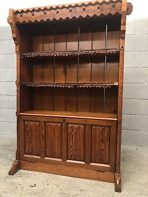 Stunning Antique Church Pitch Pine Gothic Bookcase