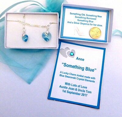 Something Blue Traditional Lucky Charm Anklet made using Swarovski Blue Crystals
