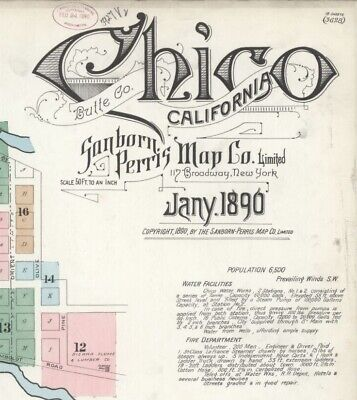 Chico, California~Sanborn Map© sheets~ 1890 with 18 map sheets in color on a CD