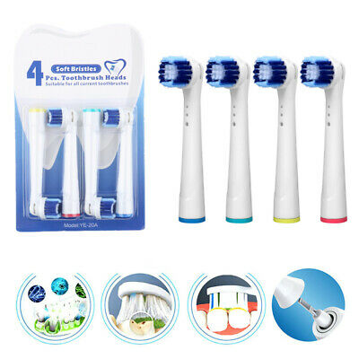 4X Replacement Electric Toothbrush Heads 3D White Clean Compatible With Oral-B