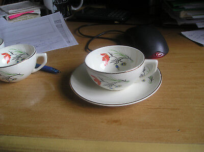 vintage French china Sarreguemines DIGOIN Joel cup+saucer hand painted