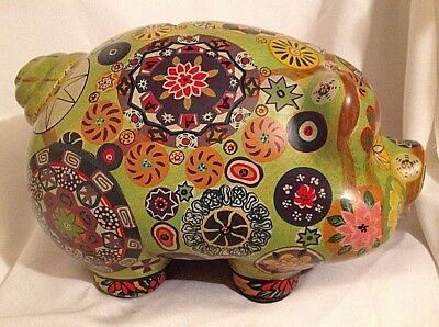 """Vintage Mexican Pottery PIGGY BANK 11"""" Psychedelic Painted HIPPIE Flower Art"""