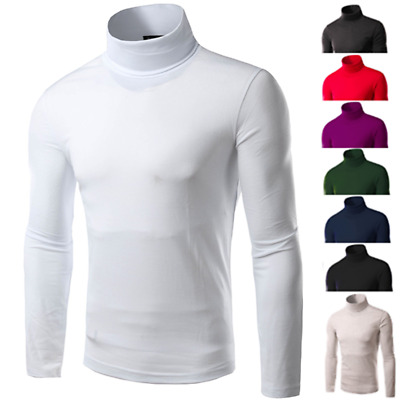 Men Thermal Turtle Neck Skivvy Turtleneck Sweaters Stretch T Shirt Tops Pullover