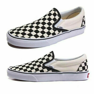 Men&Womens Summer Van s Classic Checkerboard Slip-on Shoes-Black White Plaid AU