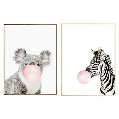 2 Pcs Kawaii Animal Nordic Canvas Painting Art Print Poster Wall Picture Ro X8M6