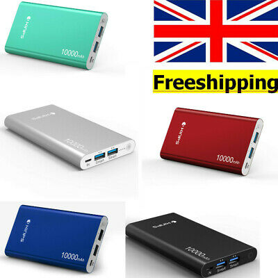 Portable Charger Kinps 10000mAh Dual Ports Alum Case Li-Polymer External Battery