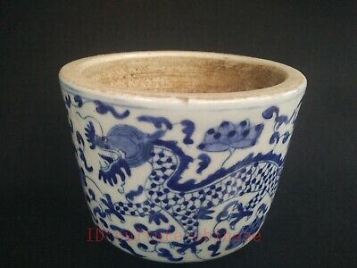 Collect Ancient China Porcelain Painting Dragon Flowers Jar Pot Decoration Gift