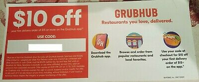 GRUBHUB $12 OFF First $15+ Grubhub In-App Delivery Order Exp