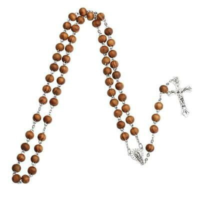 1Pc Handmade Round Bead Catholic Rosary Cross Religious Wood Beads Necklace Gift