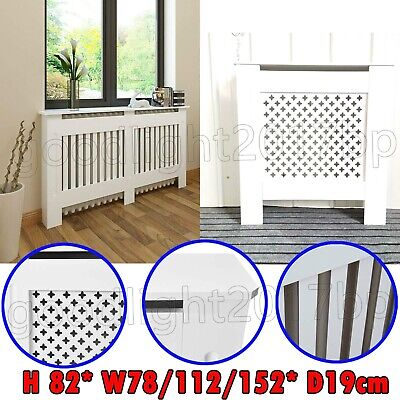 White MDF Radiator Cover Small Wall Heater Hide-Out Slatted Shelf Cabinet Medium