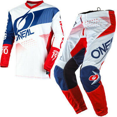 Oneal Element Factor White Blue Red Kit Combo
