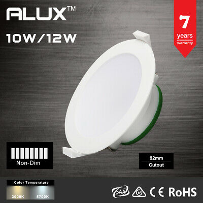 Alux 12W Led Downlight Light Warm/Cool White Non-Dim 92Mm Cutout Ip44  Smd