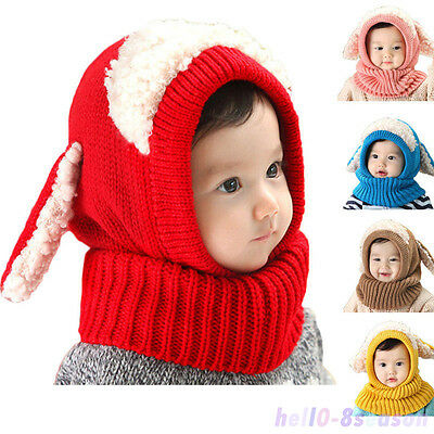 Girls Boys Toddler Baby Winter Warm Hat Hooded Scarf Earflap Lovely Knitted Cap