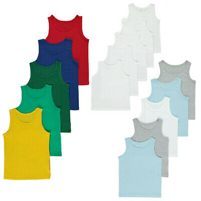 BOYS Baby Kids Pack of 5 Cotton Vests Top Underwear Age 1 - 10 Years