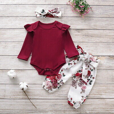 Newborn Baby Girls Ruffle Romper Tops Jumpsuit Floral Long Pants Clothes Outfits