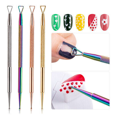 Dual-ended Stainless Steel UV Gel Remover Nail Dotting Pen Nail Design Tool DIY