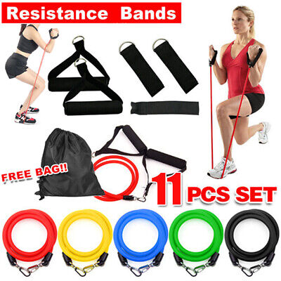 11 Piece Set Resistance Bands Workout Exercise Yoga Crossfit Fitness Tubes Mee