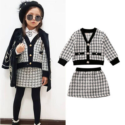 Toddler Baby Girl Autumn Winter Clothes Plaid Coat Tops+Tutu Dress Formal Outfit