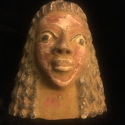 EGYPTIAN ANTIQUES STATUE Head  Of PHARAOH Carved STONE BC