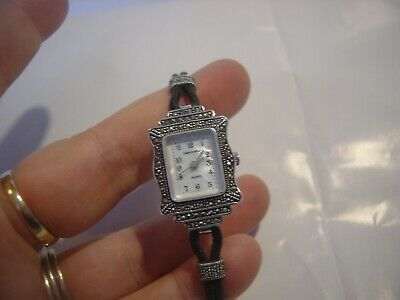 """Beautiful Art Deco Design Solid Silver Watch Leather & Marcasite Stunning 6.5"""""""