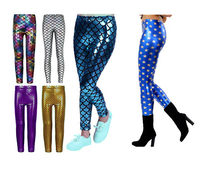 Girls METALLIC LEGGINGS Fish Scale Mermaid Kids Shiny Foil All Ages 3-13 Years