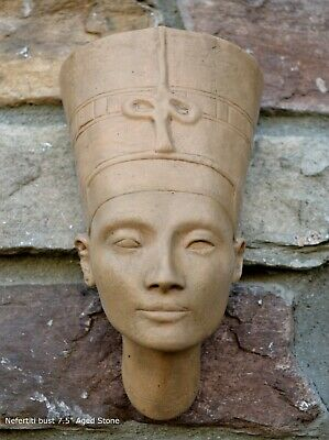 Egyptian Nefertiti bust Fragment Sculptural wall relief plaque  7.5""