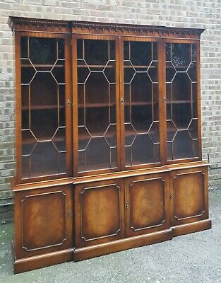 Quality Georgian Design Mahogany Breakfront Bookcase