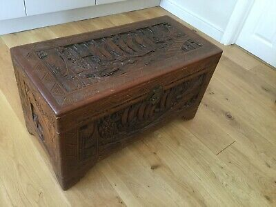 Vintage Carved Camphor Wood Chest. In Excellent And Original Condition.