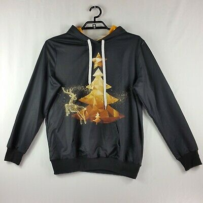 You Look Ugly Today Womens Hoodie Size XLarge Reindeer Tree Graphic Black Gold