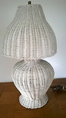 Vintage White Woven Wicker Lamp and Woven Shade Approx 23 Inches Tall