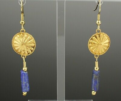 ANCIENT ROMAN GOLD & LAPIS BEAD EARRINGS - CIRCA 2nd Century AD   02