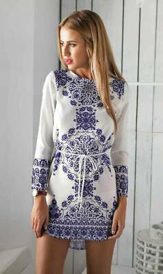 Boho Women Floral Printed Long Sleeve Lace Up Short Dresses Casual Summer Casual