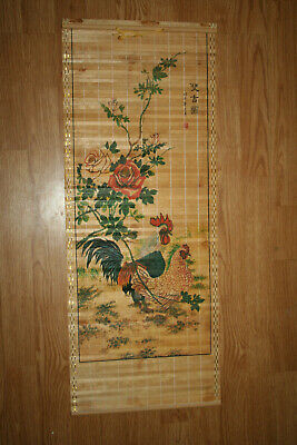 """Vtg Japanese Wall Art HP Bamboo Scroll Chickens Rooster Hen Rose 32-3/4"""" Long"""