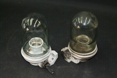 Old Lamp with Glass Shade Ceiling Wall Vintage Socket Umbrella Big S.