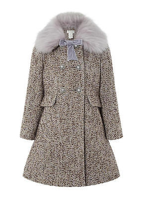 Monsoon Girls Sophia Tweed Bow Fur Collar Button Wool Jacket Coat Age 5 to 6