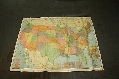Vintage United States Map 49 x 38 Opened Up Color U.S. Map