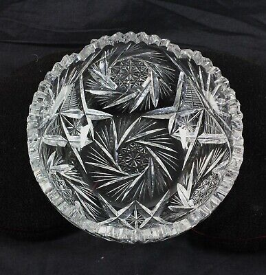"Antique 7"" Cut Glass Crystal Bowl American Brilliant Beautiful Pattern Scalloped"