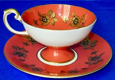 Aynsley Fancy Coral Gold Flowers Pedestal Cup & Saucer